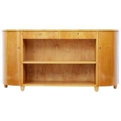 Mid-20th Century Scandinavian Shaped Elm Low Bookcase