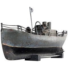 Mid-20th Century Scratch Built Metal Boat Model