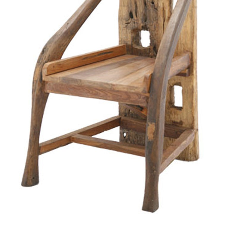 Mid-Century Modern Midcentury Sculptural Olive Wood and Walnut French Chair For Sale
