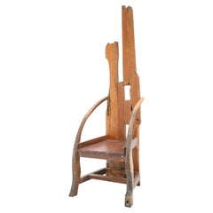 Mid-20th Century Sculptural Olive Wood and Walnut French Chair