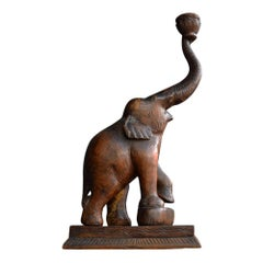 Mid-20th Century Section Carved Elephant Candleholder Statue