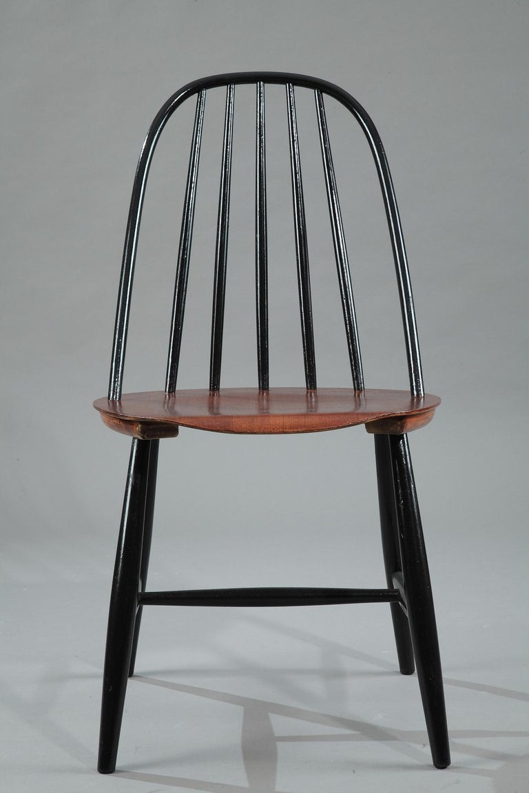 Lacquered Mid-20th Century Set of 4 Scandinavian Chairs by Haga Fors, Sweden For Sale