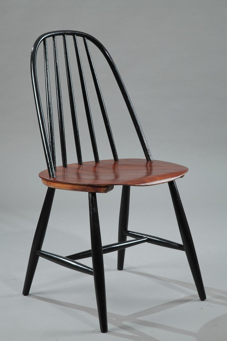 Teak Mid-20th Century Set of 4 Scandinavian Chairs by Haga Fors, Sweden For Sale