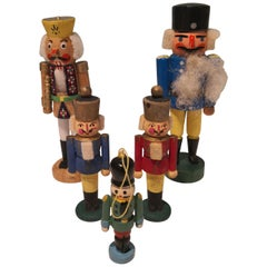 Mid-20th Century Set of Five Christmas Santa Figures from Erzgebirge Germany