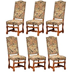 Mid-20th Century Set of Six French Louis XIII Carved Sheep Bone Dining Chairs