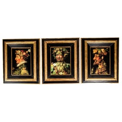Mid-20th Century Set of Three Oil on Board Painting