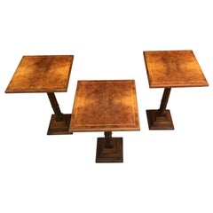 Mid-20th Century Set of Three Walnut Wood Square Top Pedestal Tables