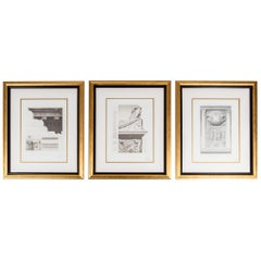 Mid-20th Century Set Three Lithograph / Giltwood Frame