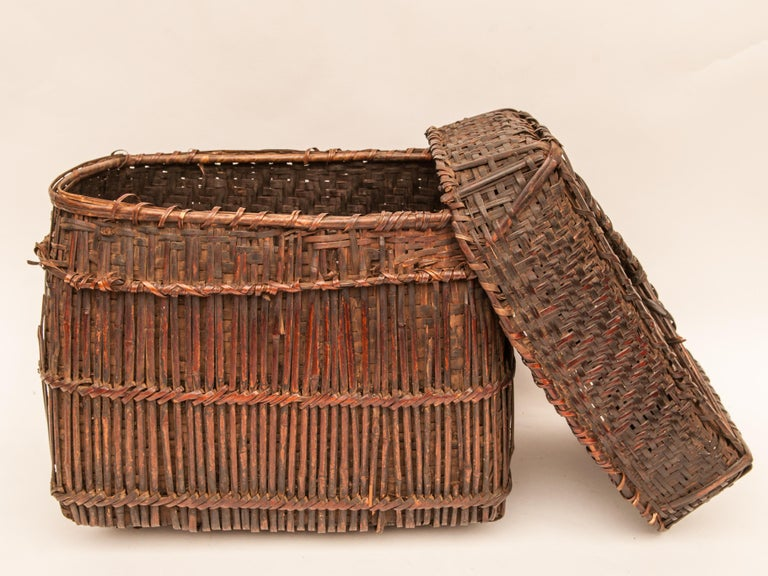 Mid-20th Century Shaman Basket with Hand Spun Netting, From the Tamang of Nepal For Sale 4