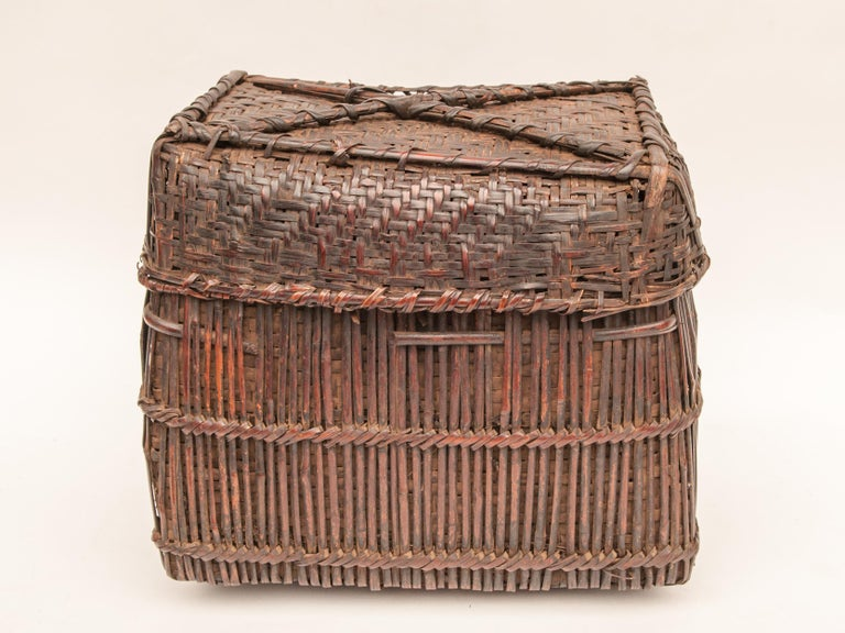 Tribal Mid-20th Century Shaman Basket with Hand Spun Netting, From the Tamang of Nepal For Sale