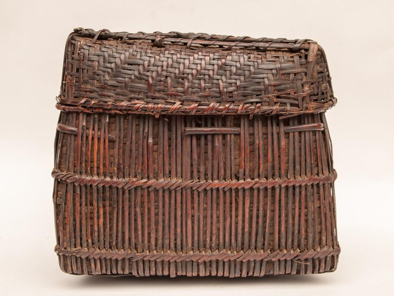Nepalese Mid-20th Century Shaman Basket with Hand Spun Netting, From the Tamang of Nepal For Sale
