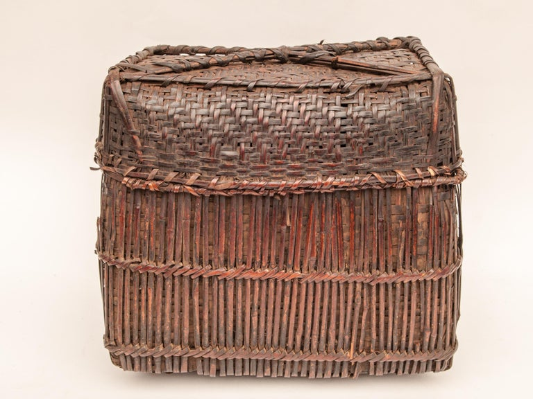Hand-Crafted Mid-20th Century Shaman Basket with Hand Spun Netting, From the Tamang of Nepal For Sale