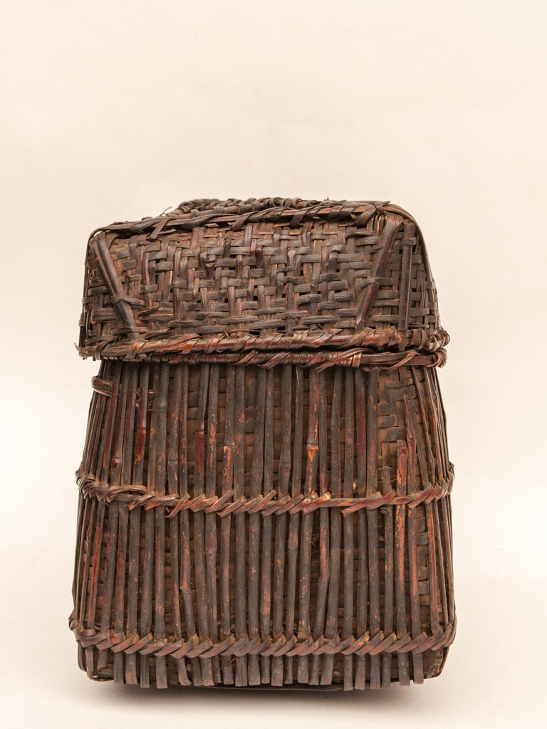 Bamboo Mid-20th Century Shaman Basket with Hand Spun Netting, From the Tamang of Nepal For Sale