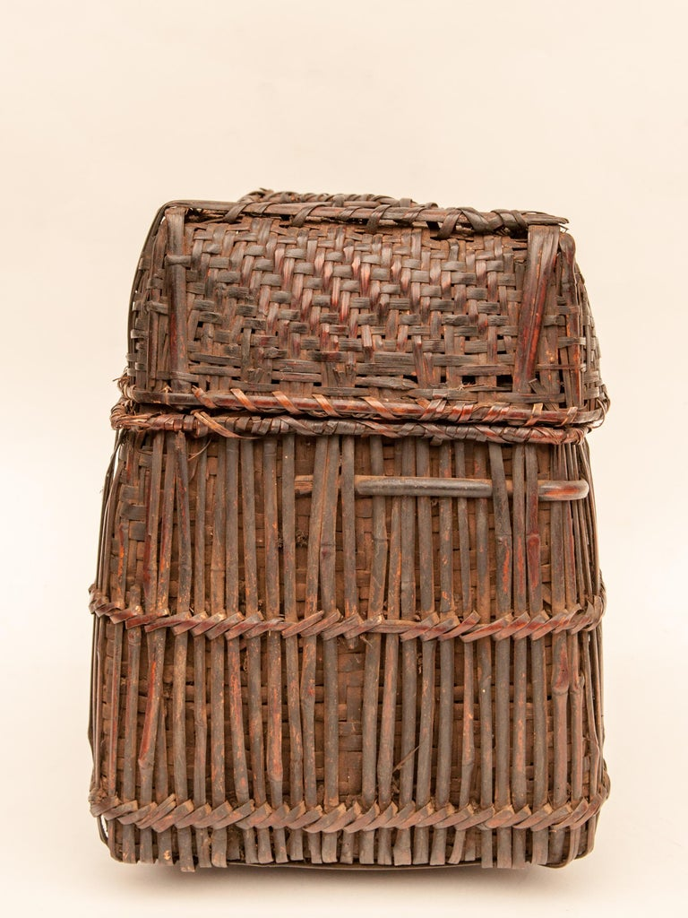 Mid-20th Century Shaman Basket with Hand Spun Netting, From the Tamang of Nepal For Sale 1