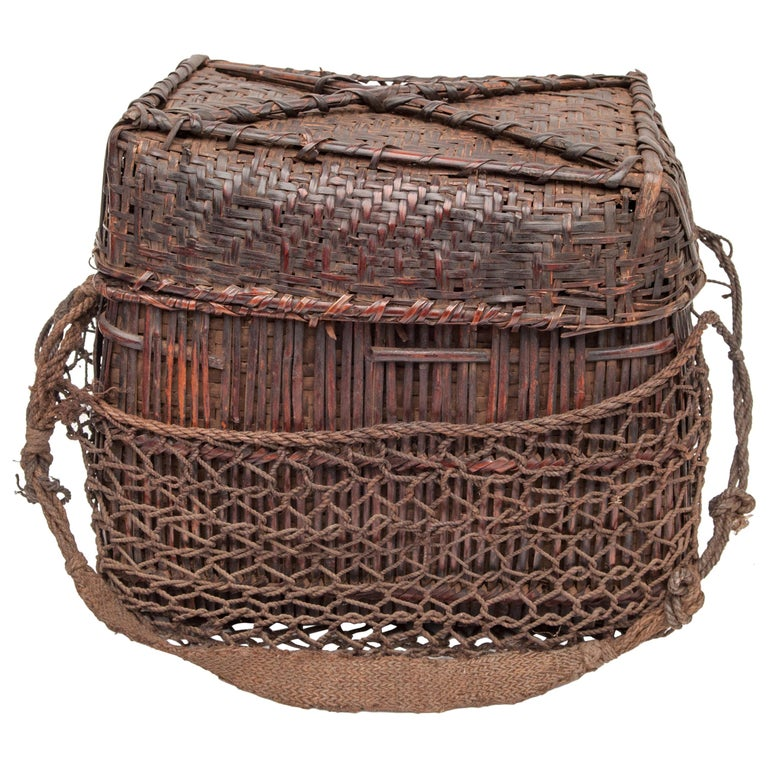 Mid-20th Century Shaman Basket with Hand Spun Netting, From the Tamang of Nepal For Sale