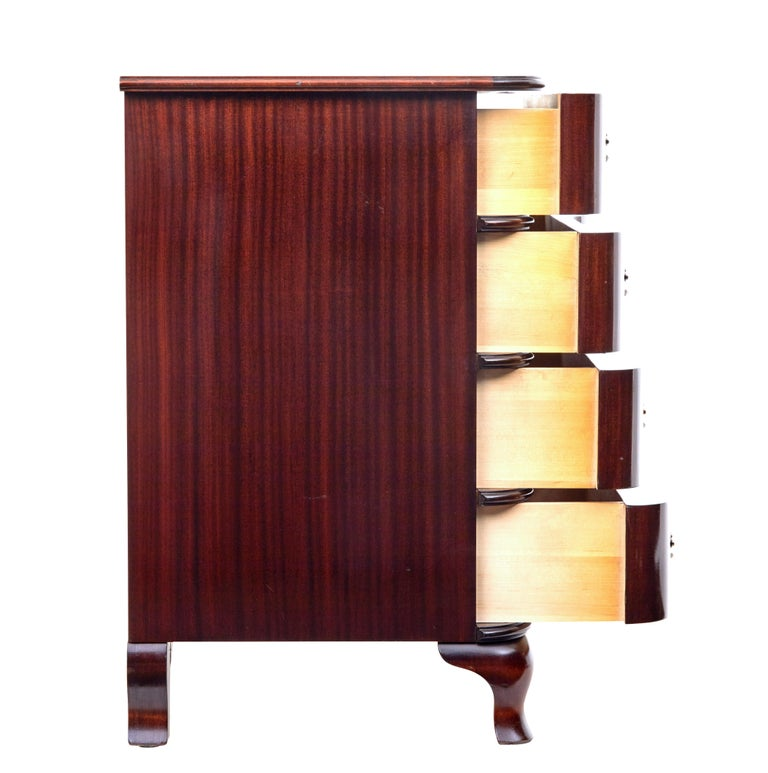 Mid-20th Century Shaped Mahogany Chest of Drawers 3