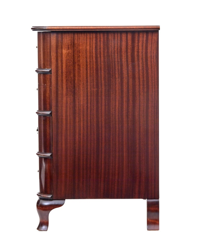 Mid-20th Century Shaped Mahogany Chest of Drawers 4