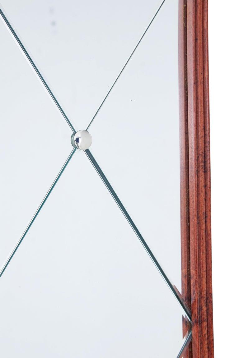 Art Deco Mid-20th Century Shaped Scandinavian Teak Wall Mirror For Sale