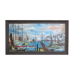 Mid-20th Century Ships Painting by Flont