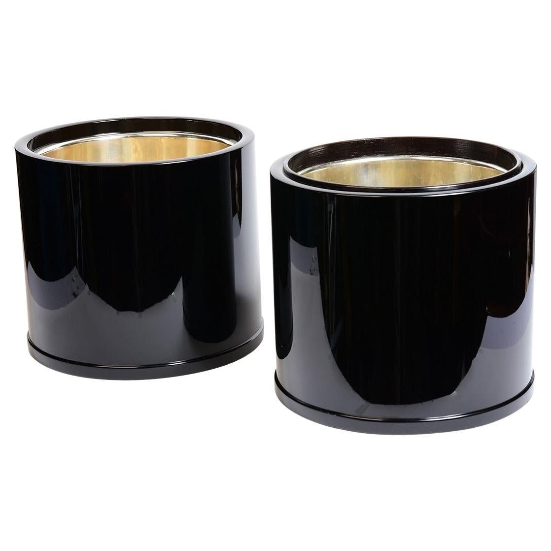 Mid-20th Century, Showa, A Pair of Japanese Hibachi Vessels with Black Lacquer