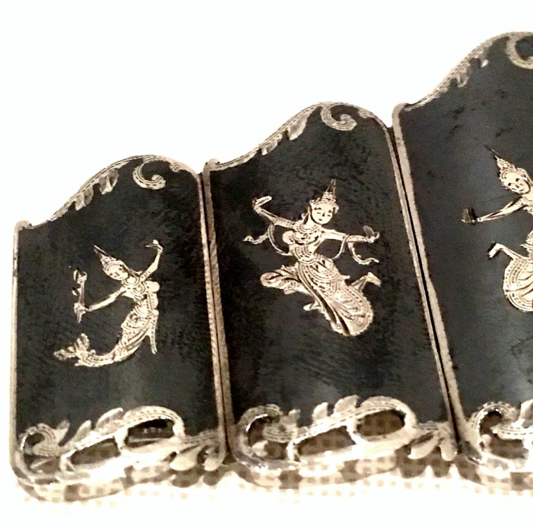 Mid-20th Century Siam Sterling Silver & Niello Enamel Panel Link Bracelet-Signed For Sale 9