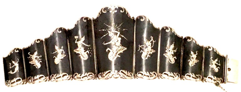 Women's or Men's Mid-20th Century Siam Sterling Silver & Niello Enamel Panel Link Bracelet-Signed For Sale