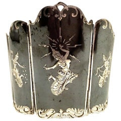 Mid-20th Century Siam Sterling Silver & Niello Enamel Panel Link Bracelet-Signed