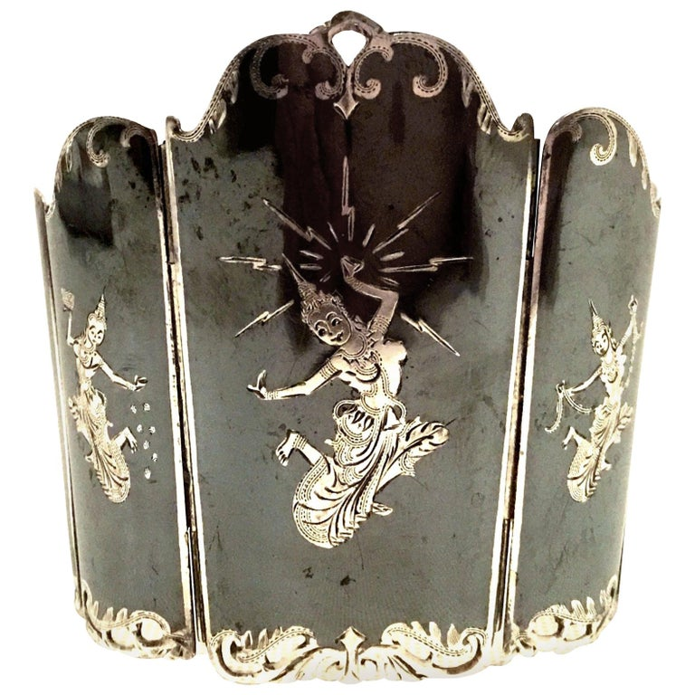 Mid-20th Century Siam Sterling Silver & Niello Enamel Panel Link Bracelet-Signed For Sale