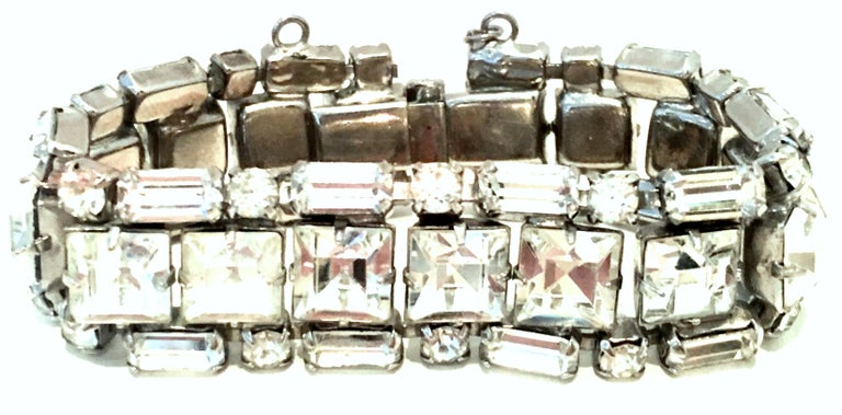 Mid-Century Art Deco Style Silver & Austrian Crystal Link Bracelet By, Weiss. This collectors piece by Weiss features silver plate metal with brilliant crystal clear fancy prong set colorless stones.The large central stones measure approximately,