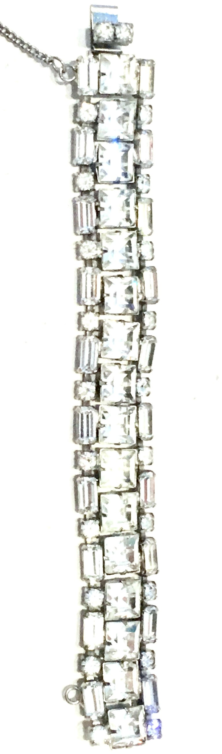 Art Deco Mid-20th Century Silver & Austrian Crystal Link Bracelet By, Weiss For Sale