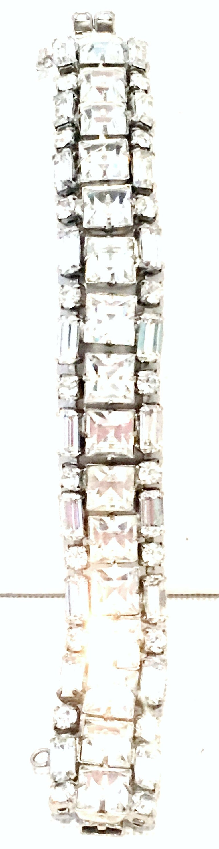 Mid-20th Century Silver & Austrian Crystal Link Bracelet By, Weiss In Good Condition For Sale In West Palm Beach, FL