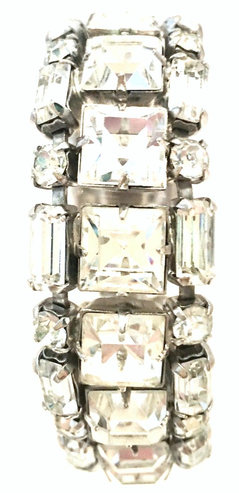 Women's or Men's Mid-20th Century Silver & Austrian Crystal Link Bracelet By, Weiss For Sale