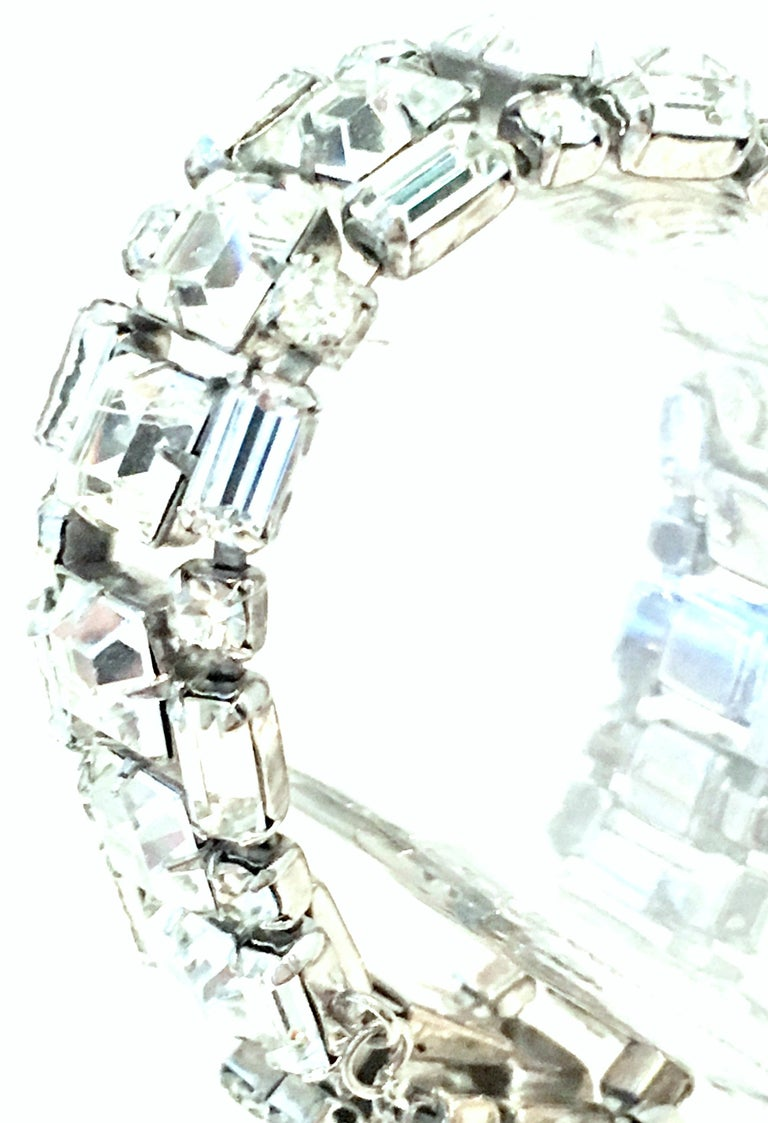 Mid-20th Century Silver & Austrian Crystal Link Bracelet By, Weiss For Sale 1