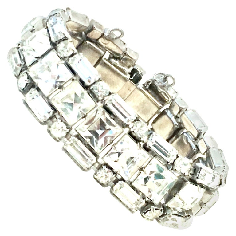 Mid-20th Century Silver & Austrian Crystal Link Bracelet By, Weiss For Sale