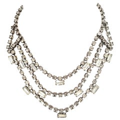 Mid-20th Century Silver & Austrian Crystal Triple Strand Choker Style Necklace