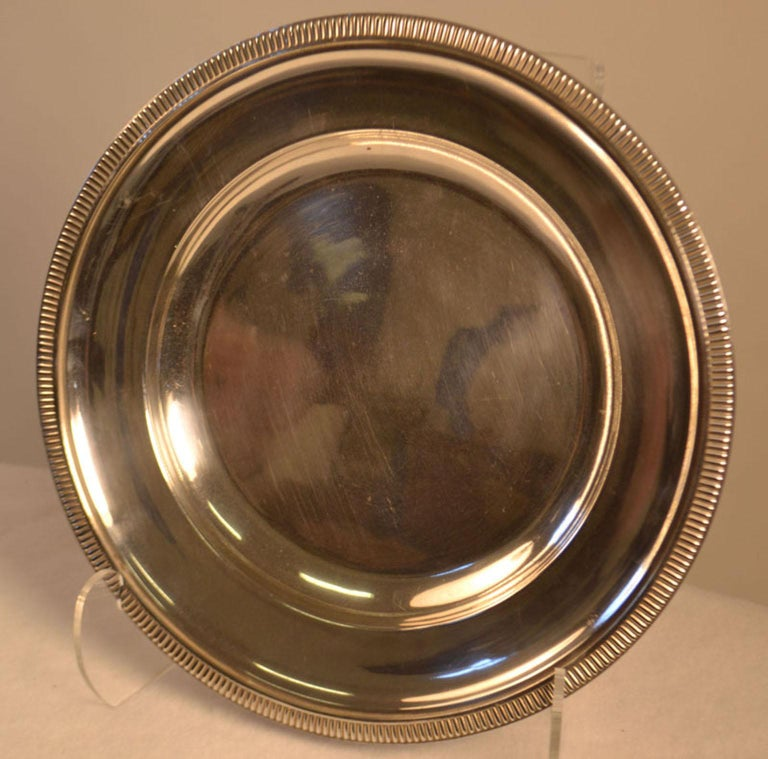 French Mid-20th Century Silver Plated Round Serving Tray For Sale
