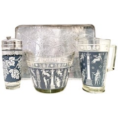 Mid-20th Century Silver Tray & Hellenic Blue Print Glass Drinks Set of 4 Pieces