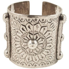 Mid-20th Century Silver Tribal Cuff, Berber People, Siwa Oasis, Egypt