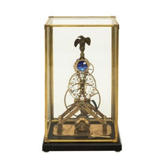 Mid 20th Century Skeleton Brass Clock