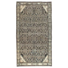 Mid-20th Century Small Room Size Persian Malayer Accent Rug in Charcoal Brown