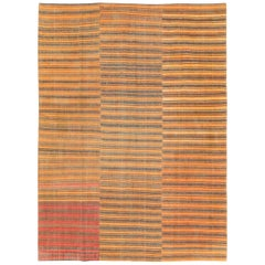 Mid-20th Century Small Room Size Turkish Flat-Weave Kilim Accent Rug in Orange