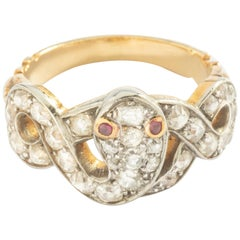 Mid-20th Century Snake Diamond Platinum and Yellow Gold 18 Karat Ring