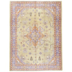Mid-20th Century Soft Colored Oushak Carpet in Beige, Purple, and Orange
