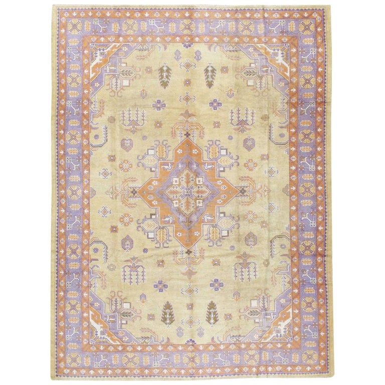 Mid-20th Century Soft Colored Oushak Carpet in Beige, Purple, and Orange For Sale