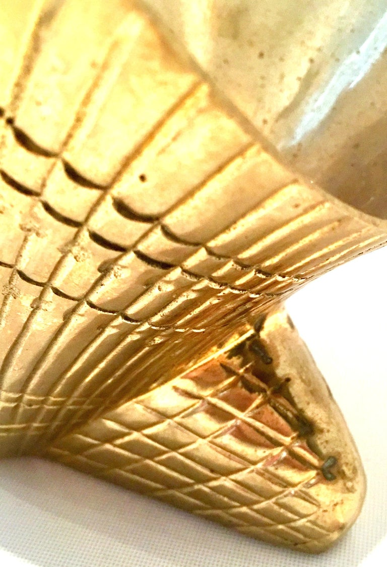 Mid-20th Century Solid Brass Scallop Shell Form Basket For Sale 6