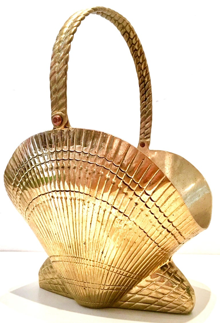 Asian Mid-20th Century Solid Brass Scallop Shell Form Basket For Sale