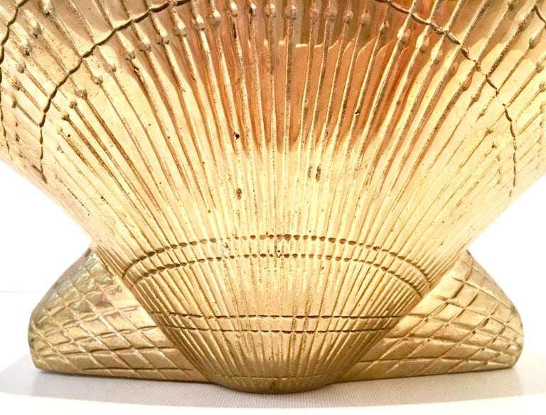 Mid-20th Century Solid Brass Scallop Shell Form Basket For Sale 5
