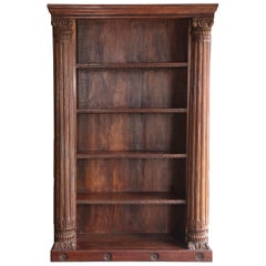 Mid-20th Century Solid Teak Wood Bookcase with Solid Ornate Carved Columns