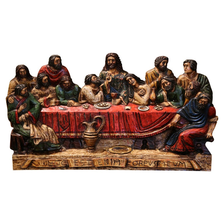 """Mid-20th Century Spanish Carved Polychromed and Gilt Sculpture """"The Last Supper"""" For Sale"""