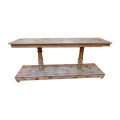 Mid-20th Century Spanish Hard Wood Industrial Work Table